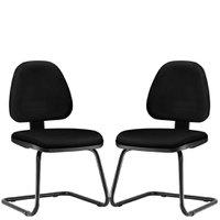 Kit 02 Cadeiras Para Escritório Sky Fixa Couro Sintético - Lyam Decor