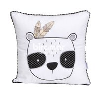 Almofada Pompom Urso Panda Rique Branco/Preto