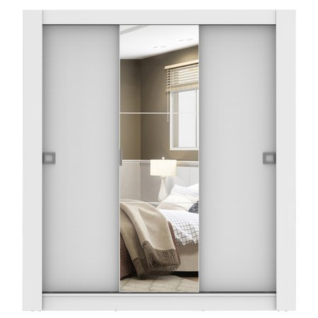 Guarda-Roupa Casal Madesa Texas 3 Portas de Correr com Espelho
