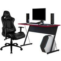 Kit Mesa Para PC Gamer Kombat com Cadeira Gamer TGC12 ThunderX3 Preto - Lyam Decor