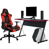 Kit Mesa Para PC Gamer Kombat com Cadeira Gamer TGC12 ThunderX3 Preto Vermelho - Lyam Decor