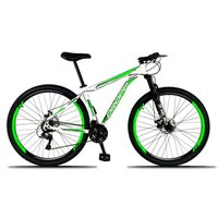 Bicicleta Aro 29 Quadro 17 Freio a Disco Mecânico 21 Marchas Alumínio Branco Verde - Dropp