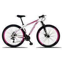 Bicicleta Aro 29 Quadro 15 Freio a Disco Mecânico 21 Marchas Alumínio Branco Rosa - Dropp