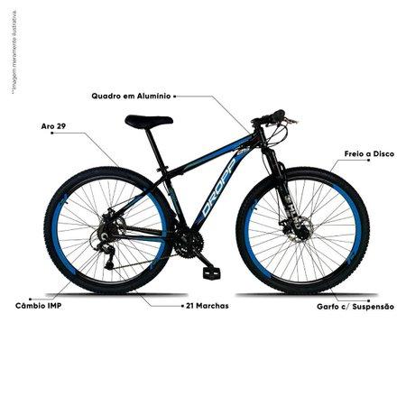 Bicicleta Aro 29 Quadro 15 Freio a Disco Mecânico 21 Marchas Alumínio Preto Azul - Dropp