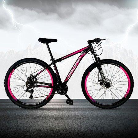 Bicicleta Aro 29 Quadro 15 Freio a Disco Mecânico 21 Marchas Alumínio Preto Rosa - Dropp