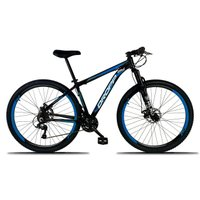 Bicicleta Aro 29 Quadro 17 Freio a Disco Mecânico 21 Marchas Alumínio Preto Azul - Dropp