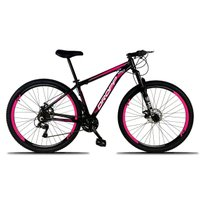 Bicicleta Aro 29 Quadro 17 Freio a Disco Mecânico 21 Marchas Alumínio Preto Rosa - Dropp