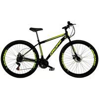 Bicicleta Aro 29 Quadro 17 Freio a Disco Mecânico 21 Marchas Preto Amarelo - Dropp