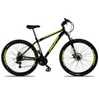 Bicicleta Aro 29 Quadro 17 Freio a Disco Mecânico 21 Marchas Suspensão Aço Preto Amarelo - Dropp