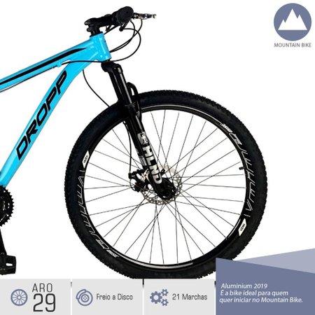 Bicicleta Aro 29 Quadro 19 Freio a Disco Mecânico 21 Marchas Alumínio Azul Preto - Dropp