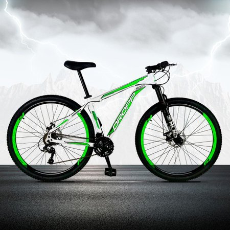 Bicicleta Aro 29 Quadro 19 Freio a Disco Mecânico 21 Marchas Alumínio Branco Verde - Dropp