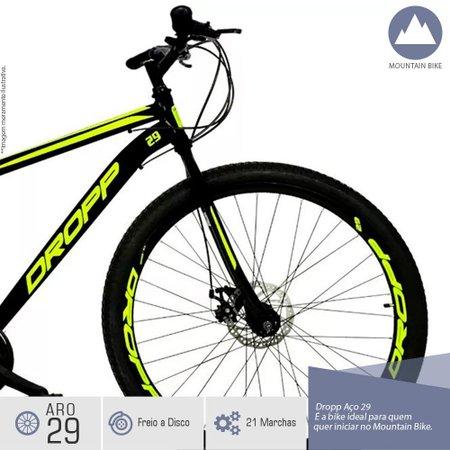 Bicicleta Aro 29 Quadro 19 Freio a Disco Mecânico 21 Marchas Preto Amarelo - Dropp