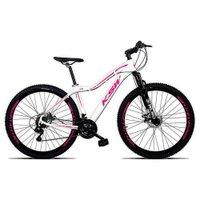 Bicicleta Feminina Sunny Aro 29 Quadro 15 Suspensão 21v Freio a Disco Alumínio Branco Rosa - KSW