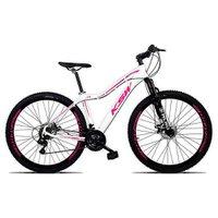 Bicicleta Feminina Sunny Aro 29 Quadro 17 Suspensão 21v Freio a Disco Alumínio Branco Rosa - KSW