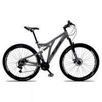 Bicicleta Full Impact Aro 29 Quadro 19 Suspensão 21v Freio a Disco Alumínio Cinza Preto - KSW