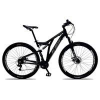 Bicicleta Full Impact Aro 29 Quadro 19 Suspensão 21v Freio a Disco Alumínio Preto Cinza - KSW