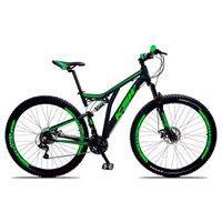 Bicicleta Full Impact Aro 29 Quadro 19 Suspensão 21v Freio a Disco Alumínio Preto Verde - KSW