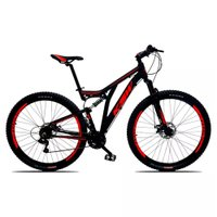 Bicicleta Full Impact Aro 29 Quadro 19 Suspensão 21v Freio a Disco Alumínio Preto Vermelho - KSW