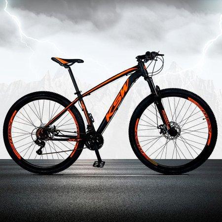 Bicicleta XLT Aro 29 Quadro 15 Suspensão 21 Marchas Freio a Disco Alumínio Preto Laranja - KSW