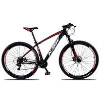 Bicicleta XLT Aro 29 Quadro 15 Suspensão 21 Marchas Freio a Disco Alumínio Preto Vermelho - KSW