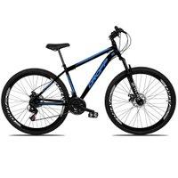 Bicicleta Aro 29 Quadro 19 Freio a Disco Mecânico 21 Marchas Suspensão Aço Preto Azul - Dropp