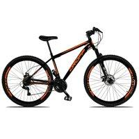 Bicicleta Aro 29 Quadro 19 Freio a Disco Mecânico 21 Marchas Suspensão Aço Preto Laranja - Dropp