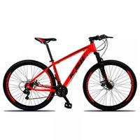 Bicicleta XLT Aro 29 Quadro 15 Suspensão 21 Marchas Freio a Disco Alumínio Vermelho Preto - KSW