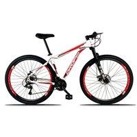 Bicicleta Aro 29 Quadro 21 Freio a Disco Mecânico 21 Marchas Alumínio Branco Vermelho - Dropp