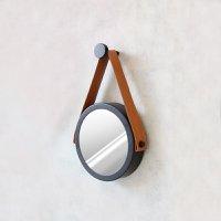 Espelho Modelo Adnet 20cm com Acabamento Preto e Alça Caramelo - HTADNET-20