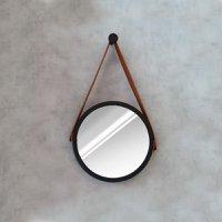 Espelho Modelo Adnet 30cm com Acabamento Preto e Alça Caramelo - HTADNET-30