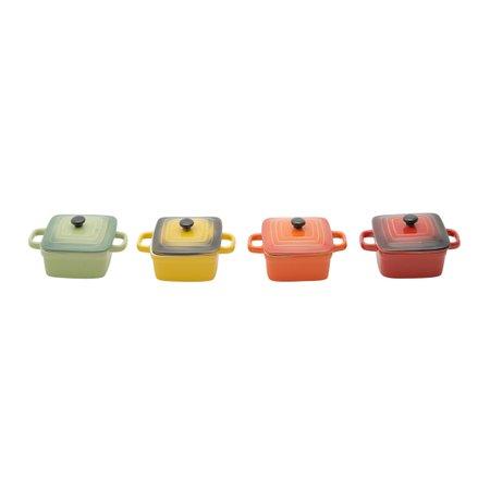Conjunto de 4 Panelinhas Quadradas de Porcelana - Colorida