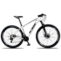 Bicicleta XLT Aro 29 Quadro 19 Suspensão 21 Marchas Freio a Disco Alumínio Branco Preto - KSW
