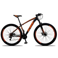 Bicicleta XLT Aro 29 Quadro 17 Suspensão 21 Marchas Freio a Disco Alumínio Preto Laranja - KSW