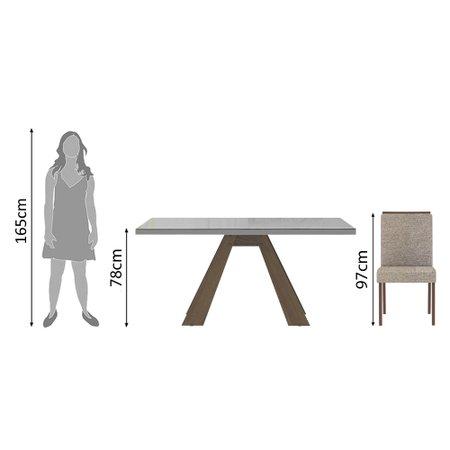 Conjunto Sala de Jantar Madesa Virginia Mesa Tampo de Vidro com 6 Cadeiras