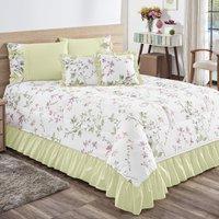 Kit Cobre Leito Primavera Floral Casal King 7pçs 140 Fios Verde