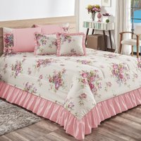 Kit Cobre Leito Primavera Floral Casal Queen 7pçs 140 Fios Rosa