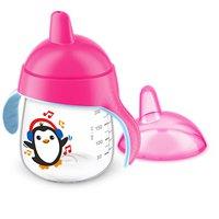 Copo Antivazamento Pinguim Rosa 260ml 12m+ - Avent