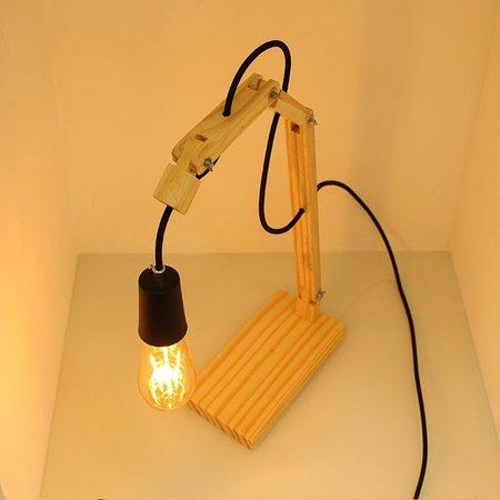 Luminária de Mesa em Madeira Articulada Move Hunter Trade com 1 Lâmpada Filamento E-27 - HT-MOVE