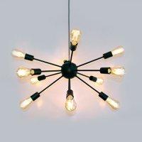Luminária Pendente para Sala de Jantar, Sala de Estar e Quartos Sputnik Preta para 12 Lâmpadas E27