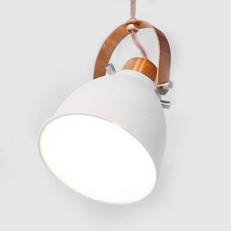 Luminária Pendente Detroit para Salas, Quartos e Cozinhas na cor Branca com Detalhe Cor Cobre Bivolt