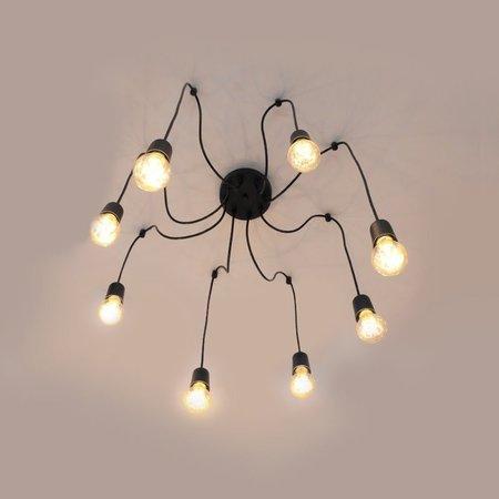 Pendente para Salas e Quartos Aranha Spider Preto para 8 Lâmpadas E27 - HTSPIDER-8-PT