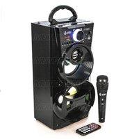 Caixa de Som Bluetooth Portátil 12W Torre LED DJ Infokit VC-M868BT Preta