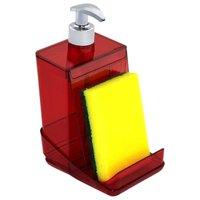 Dispenser Detergente Translúcido 500ml Porta Esponja  Desmontável