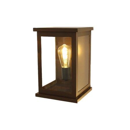 Arandela Shelter Externa Marrom Com Vidro com 1 Lâmpada Filamento LED Pêra - SHELTER-MAVDRL