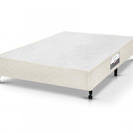 Cama Box Simples Castor Casal Poli Bege 128x188x27cm