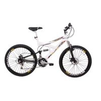 Bicicleta Aro 26 18V Full Suspention Duplo Freio a Disco MAX Branca
