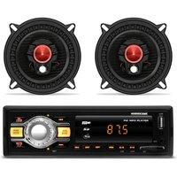 MP3 Player Hurricane HR-412 USB SD AUX + Par Alto Falantes Triaxial 5 Polegadas Bomber 100 RMS