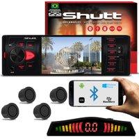 Kit MP5 Player Shutt Los Angeles 1 Din 4 Pol Bluetooth USB MP3 MP4 + Sensor de Ré 4 Pontos Grafite