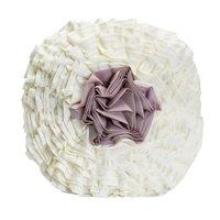 Almofada Drapê Flor com Enchimento Drapeada Delicada Marfim