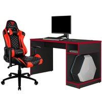Kit Mesa Para PC Gamer Legend com Cadeira Gamer TGC12 ThunderX3 Preto Vermelho - Lyam Decor